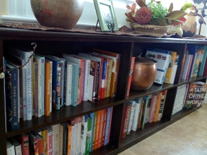 """This is the book shelf that we had built for the """"rest"""" of the cookbooks!"""
